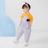 【秒杀价:140元】马拉丁童装女小童套装夏装2020新款可拆卸水果装饰条纹吊带背带裤