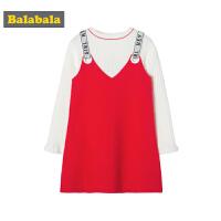 巴拉巴拉童装儿童套装女童2019新款春季小孩衣服中大童长袖吊带裙