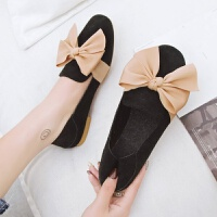 2019春季新品甜美蝴蝶结单鞋平跟加绒鞋子磨砂工作鞋女豆豆鞋 黑色 磨砂单里