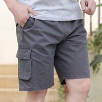 中年男士短裤夏季爸爸休闲五分裤棉中老年加大码肥佬沙滩裤外穿