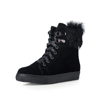 哈森旗下爱旅儿女鞋舒适保暖平跟系带兔毛短靴EA62110