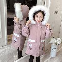 儿童棉服 女童加厚中长款棉衣2019冬季新款女孩时尚加绒棉袄中大童韩版连帽外套