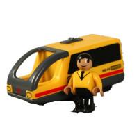 电动小木质轨道拖车头托马斯轨道电动 黄色 铁路电车