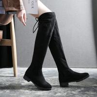 2018冬季新品加绒长靴女士过膝性感显瘦弹力骑士中跟靴子 黑色(跟高8cm)
