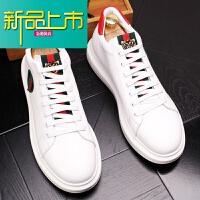 新品上市新款春夏男士小白鞋潮男休闲鞋运动板鞋厚底内增高男皮鞋高帮鞋子