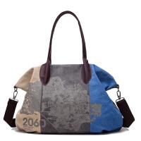 新款女包复古女士帆布包撞色印花休闲单肩包手提大包旅行挎包