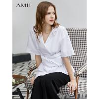 【到手价:177元】Amii极简洋气设计感心机衬衫女2019夏季新全棉落差下摆配腰带上衣