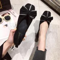 时尚复古风百搭蝴蝶结女士浅口方头平底新款舒适女鞋黑