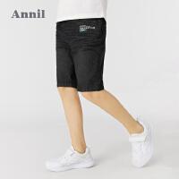 【2件4折价:86】安奈儿童装男童牛仔中裤2021夏新款洋气黑色男孩短裤学生五分裤子