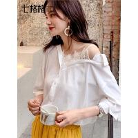 七格格白色衬衫女设计感小众上衣韩版宽松蕾丝拼接不对称洋气衬衣