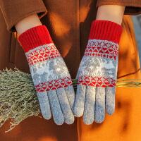 触屏手套女冬季针织毛线保暖加厚吃鸡男生韩版可爱学生加绒骑车