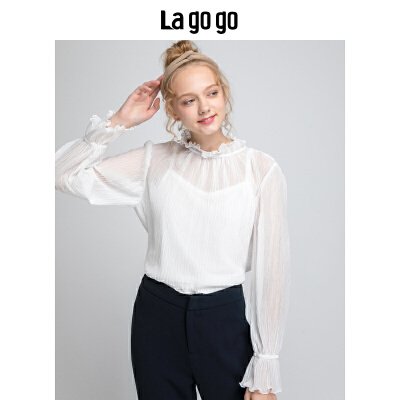 Lagogo/拉谷谷2019新款名媛气质优雅上衣两件套女HCSS83ZA13