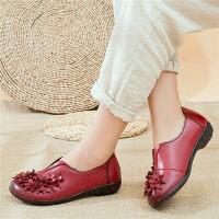 妈妈鞋软底舒适中老年人皮鞋女平底中年女鞋奶奶单鞋