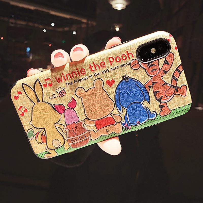 卡通可爱iphone X手机壳苹果XS Max情侣浮雕7plus/8全包软XR防摔6 XR 6.1寸 蚕丝 背影迪士尼