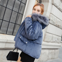 2019新款金丝绒棉衣女短款韩版新款大码加厚时尚百搭冬季棉袄外套