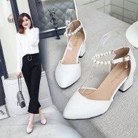 粗跟白色少女中跟5cm高跟鞋一字扣串珠礼单鞋宴会工作职场皮