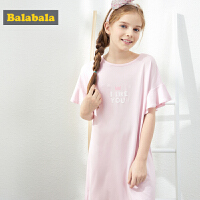 【3件4折价:51.96】巴拉巴拉儿童睡衣夏季薄款新款女童家居裙短袖睡裙甜美清新女
