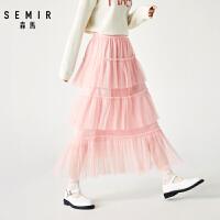 7554.3森马半身裙女冬季2019新款宽松中长款裙子层叠网纱裙女粉色蛋糕裙