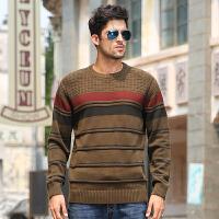 骆驼男装 秋冬新款 男套头针织衫 条纹加厚撞色圆领毛衣