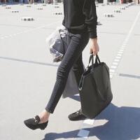 新年特惠加绒加厚黑色牛仔裤九分裤女烟灰色高腰弹性显瘦铅笔小脚裤子