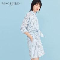 衬衫连衣裙中长款2019春装新款蓝色条纹简约套头短袖连身裙太平鸟