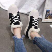 小白鞋女2018秋冬季新款韩版保暖棉鞋板鞋运动休闲学生平底女鞋子