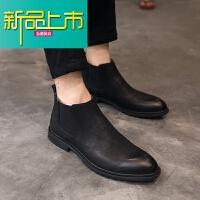 新品上市冬季英伦风复古尖头男靴时尚马丁靴套筒短靴男真皮高帮皮鞋