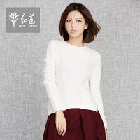 红莲 羊绒衫新款V领绞花简约百搭羊绒衫套头毛衣