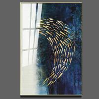 玄关装饰画客厅现代简约挂画北欧竖版走廊过道轻奢壁画抽象晶瓷画 70*100 【晶瓷画】铝框金色 铝合金框+有机玻