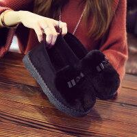 棉鞋女秋冬季毛毛鞋厚底滑月子保暖豆豆鞋2018室内外棉拖鞋