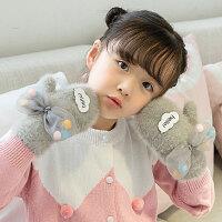 儿童手套 女童可爱卡通贴花手套秋冬新款儿童包指手套韩版蝴蝶结加绒保暖连指手套