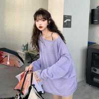 打底衫女春秋2020新款韩版宽松中长款紫色针织长袖T恤ins超火上衣