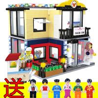 兼容积木益智积木拼装玩具城市迷你城市街景系列男孩女孩儿童玩具生日礼物
