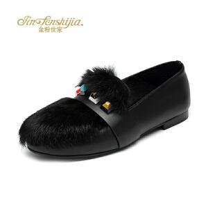 红蜻蜓旗下品牌金粉世家冬季新款女士单鞋兔毛圆头甜美舒适女鞋JGB1406