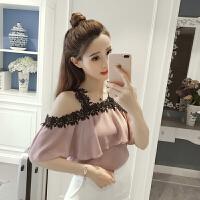 夏季新款韩版时尚蕾丝拼接雪纺衫女宽松荷叶边吊带露肩上衣