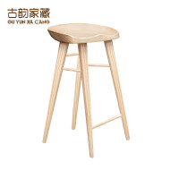 实木吧台椅餐椅家用原木酒吧椅简约休闲高脚凳子前台椅书房椅
