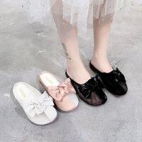 韩版女士百搭包头半拖鞋 外穿蝴蝶结拖鞋女 新款平底网面透气穆勒鞋女
