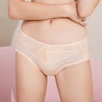 依曼丽女士时尚舒适透气 性感包臀中腰平角棉质内裤