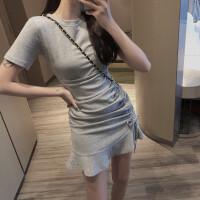 韩版chic侧边抽绳连衣裙女夏装新款荷叶边高腰短裙气质裙子潮 均码