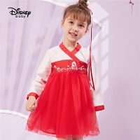 迪士尼童装女童古风连衣裙洋气宝宝中国风裙子新年装花木兰衣服