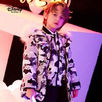 【今日4折�A估�r:248.9元】迪士尼男童派克羽�q服大毛�I�和�外套