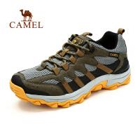 【全店满300减100】camel骆驼户外登山徒步鞋 男款 春季新款透气网布减震徒步鞋子