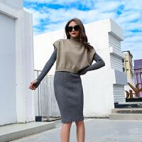 新年特惠时尚套装女秋冬季韩版V领针织马甲背心高领修身针织连衣裙两件套 灰色套装