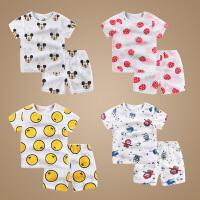 宝宝衣服0夏季短袖套装男1薄睡衣2岁3夏天家居服婴儿夏装