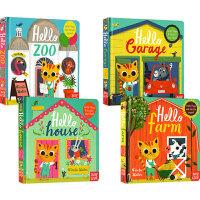你好,小猫!社交英语翻翻书 4册合售 英文原版 Hello Zoo/Farm/House/Garage 纸板操作书 幼儿英语启蒙 游戏玩具书