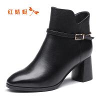 红蜻蜓女鞋 2018冬季新款优雅粗跟中跟短靴 时尚百搭短筒靴女靴子