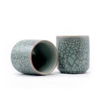 (PU RUN) 陶瓷故事 龙泉青瓷茶杯哥窑直身杯 200毫升单只价 米黄色仿古釉