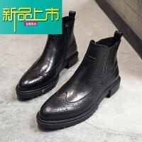 新品上市英伦尖头皮靴真皮拉链马丁靴雕花短靴韩版牛皮潮靴高帮男鞋