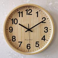 家庭钟表挂钟客厅个性创意时尚静音家用卧室仿木纹大气中式石英钟
