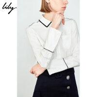 【2件4折到手价:191.6元】 Lily20夏新款女装气质撞色条纹通勤白色长袖衬衫119210C4609